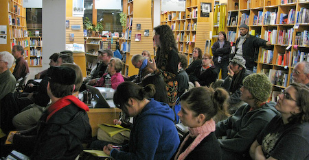 Michelle talking at Powell's